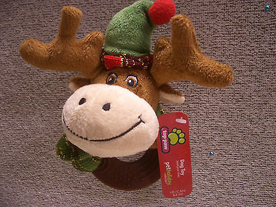 Squeaky Teether Ring Plush Moose Toy Pet Holiday Collection Proceed Animal Aid