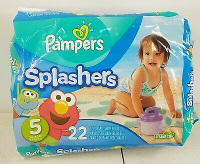 Pampers Splashers Kids Swim Diaper Disposable Swimming Pant Size 5  22 Ct Pack