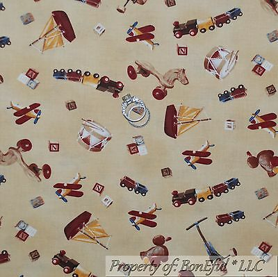 BonEful Fabric FQ Cotton Quilt Tan Baby Wood Toy Antique VTG Airplane Boat Train