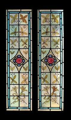 Stunning Rare Painted Pair English Victorian Leafy Stained Glass Windows