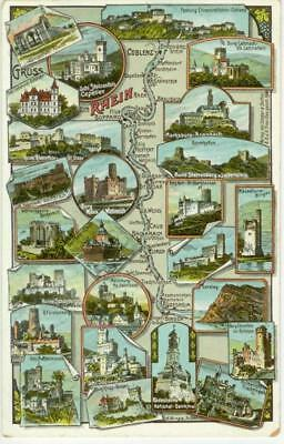 c1910 Rhein River Germany map and castles multiview