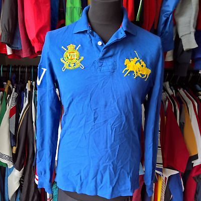 Royal Blue Custom Fit Polo Shirt Iv L/s Ralph Lauren Jersey Size Adult M