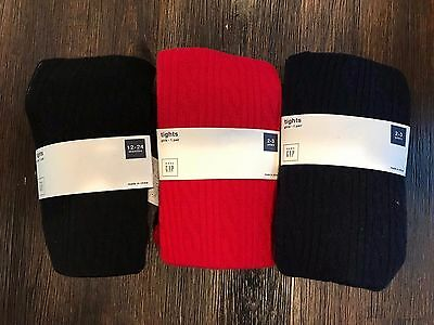 Nwt Baby Gap Girls Cable Knit Bear Bottom Tights Red Blue Black 12-18-24 2 3 4 5