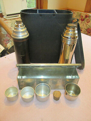 Vintage Thermos & Lunch Box Picnic Set with Leather Case, Glass Lined