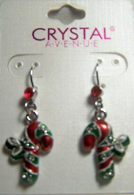 Lovely Pair Of Candy Cane Earrings By Crystal Avenue With Red And Clear Crystals