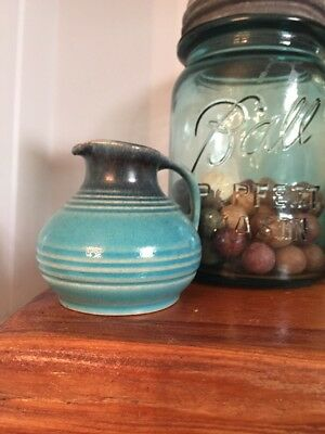 ROYAL GOUDA Pottery Aqua Tiny ART DECO Jug  HOLLAND