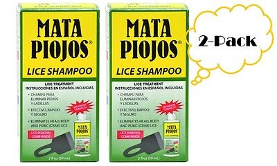 Mata Piojos Lice Shampoo Treatment Head Body Pubic Hair 2oz (2-PACK)
