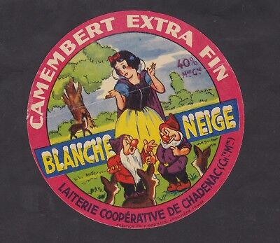 Ancienne étiquette Fromage France BN30532 Camembert Blanche Neige Charentes 2