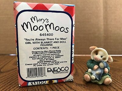 "Enesco Mary's Moo Moos ""You're Always There For Moo"" Girl/Blanket/Doll  645400"