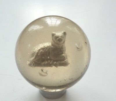 """19th C. Antique German SULPHIDE Reclining Cat Marble, 2 1/8"""", Scarce Subject"""
