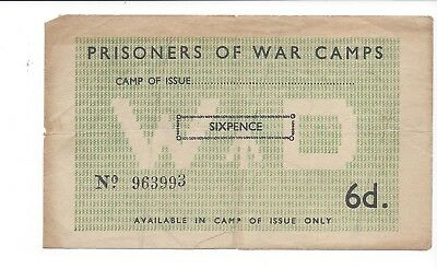 Great Britain War Department 6 Pence POW Camp Campbell 5016a edge split at fold