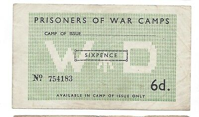 Great Britain War Department 6 Pence POW Camp Campbell 5016a EF  25-Oct-1943