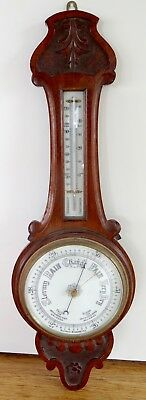 .c 1900 LARGE ENGLISH OAK WALL MOUNTED BANJO ANEROID BAROMETER. 81CM HIGH