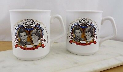 Vintage Commemorative Marriage Prince of Wales & Lady Diana Ceramic Mugs Cups