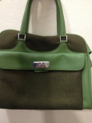 Vintage Samsonite Saturn Green Tweed Carry On Travel Bag Suitcase Luggage Mint