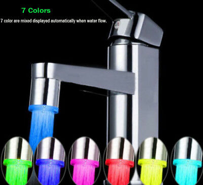 Water-Powered 7-LED Glowing Color-Changing Temperature Sensor Faucet Light Tap S