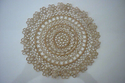 Beautifully Made Beige Colour Doily Tatting Round 19.5 Cm Diam. Tatted Doily Vgc