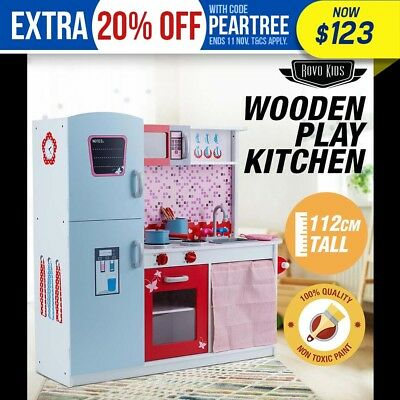 New ROVO KIDS Wooden Pretend Kitchen Toy Play Set Cooking Home Cookware Toddler