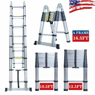 10.5-16.5FT Simple Aluminium Foldable Extension Ladder Telescopic Scaffold