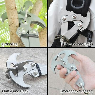 Foldable Steel Grizzly Hook Grappling Climbing Tail Carabiner Survival Tool Set