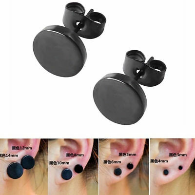 Fashion Women Men Black Round Shaped Earrings Stainless Steel Ear Studs Jewelry