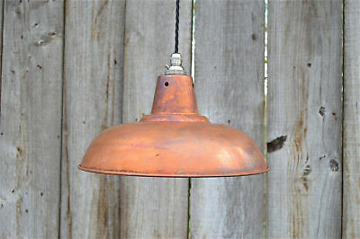 Aged antique copper hanging pendant light distressed copper finish shade ADCSR4