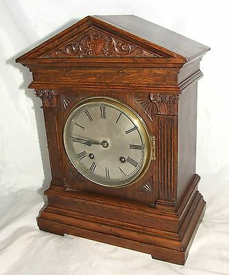 Antique Carved Oak TING TANG Bracket / Mantel Clock : CLEANED & SERVICED (b21)