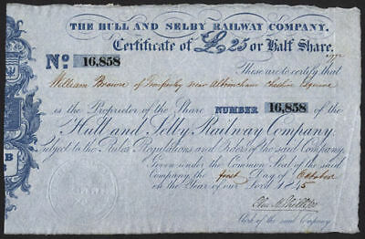 Hull and Selby Railway Co., £25 half share, 1845