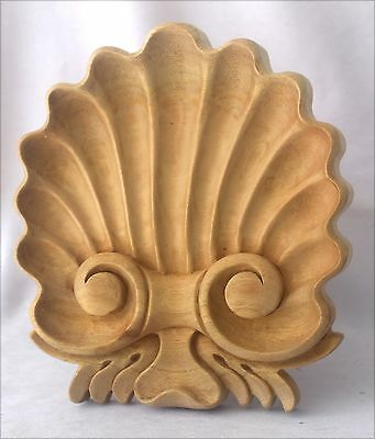 Exquisite Shell Deeply Carved Wood Pediment Unfinished