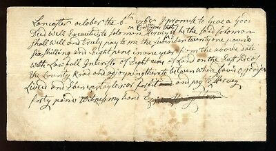 1768 LANCASTER, MA Promissory Note EZRA HOUGHTON French & Indian War CROWN POINT