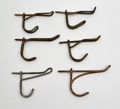 6 Miscellaneous Vintage Antique Metal Wire COAT HOOKS Schoolhouse Screw In