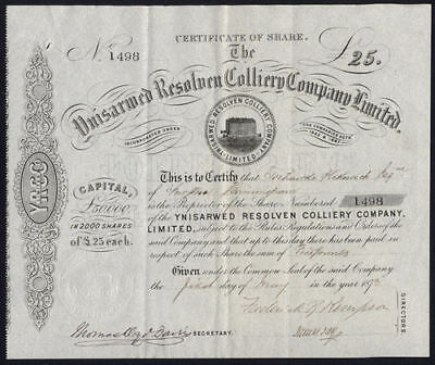 Ynisarwed Resolven Colliery Co. Ltd., £25 share, 1873