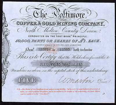 Poltimore Copper & Gold Mining Co., North Molton, Devon, 5 shares of £1, ca1852