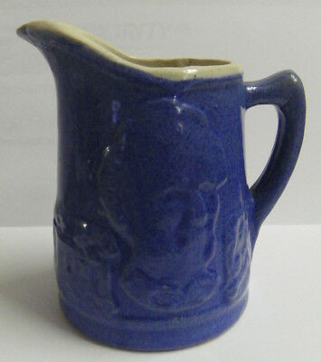 "Antique UHL POTTERY Abe Lincoln Blue Stoneware 4-1/2"" Pint Pitcher"