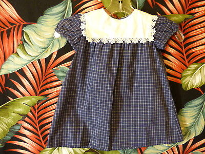 60s little girls blue plaid dress w/white lace trimmed collar 25 breast