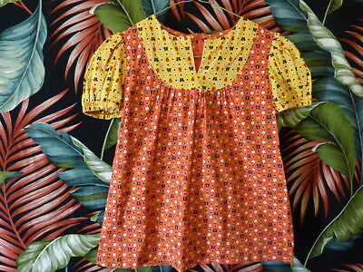70s Girls ladybug/butterfly print cotton smock top or dress 30 breast