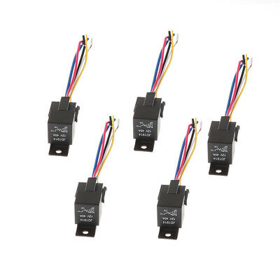 5Pcs Car SPDT Automotive Relay 5 Pin 5 Wires w/Harness Socket 30/40 Amp DC 12V