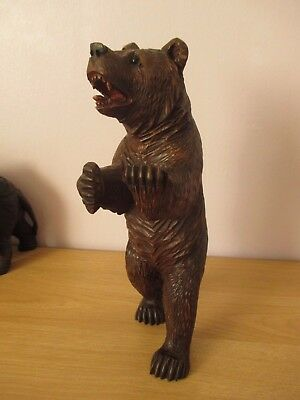 "Antique Large 12"" Black Forest Standing Bear Swiss Wood Carving"