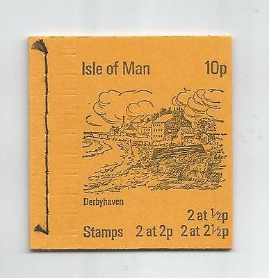 ISLE OF MAN 1973 10p DERBYHAVEN BOOKLET UPRIGHT PANES SB1