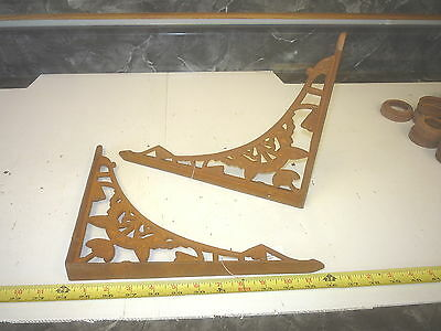 2  Large New Old Eastlake Style Cast Iron Wall Shelf Bracket Hanger