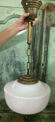Antique Hanging School House Light Milk Glass Pendant Fixture Cap Chain Tassel
