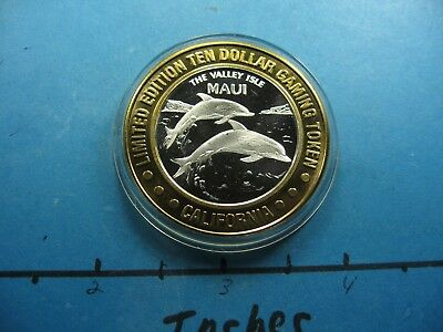 Dolphin Maui Hawaii Valley Isle Sam Boyd's $10 Rare 999 Silver Gaming Coin Cool