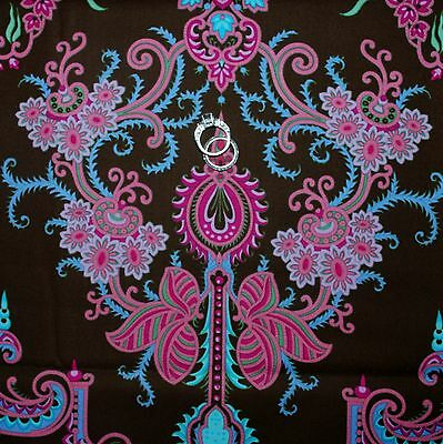 BonEful Fabric FQ Cotton Quilt Brown Pink Blue Damask Flower French Shabby Chic