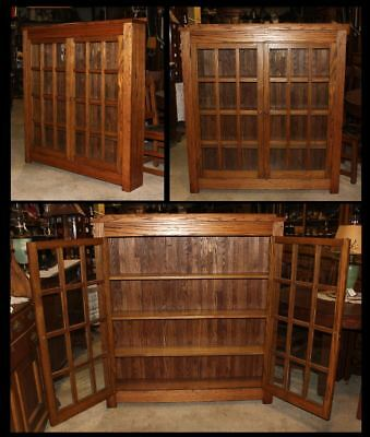 Antique Mission Arts & Crafts Oak Bookcase Cabinet Wood Frame Paned Glass Doors