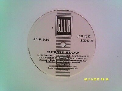 "Kurtis Blow I'm Chillin' 12"" Promo Single 1986 N/mint"