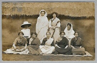 Edwardian era Postcard - European women dressed in traditional Indian dress