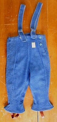 NOS Vtg 1930-40s Blue Wool Suspenders Kids Boys Snow Pants Bib Overalls