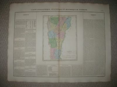 Huge Folio Antique 1825 Vermont Carey & Lea Buchon Handcolored Map Rare Superb