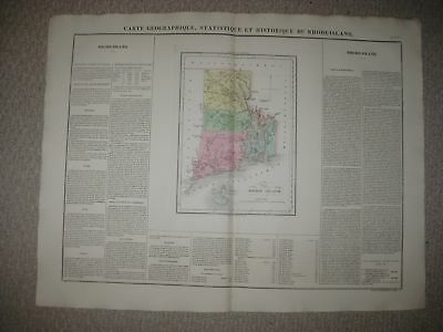 Huge Folio Antique 1825 Rhode Island Carey & Lea Buchon Handcolored Map Newport