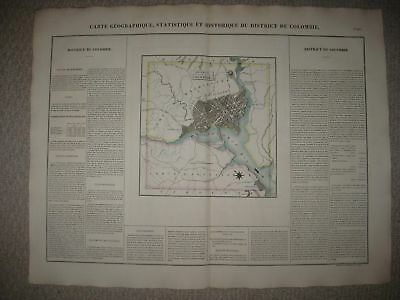 Huge Folio Antique 1825 Washington Dc Carey & Lea Buchon Handcolored Map Rare Nr